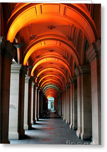 Arch Greeting Cards - Glowing Iteration Greeting Card by Andrew Paranavitana