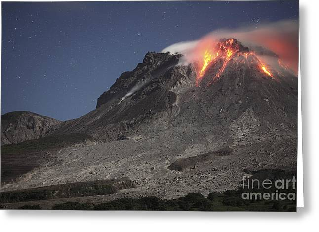 Rock Slope Greeting Cards - Glowing Lava Dome During Eruption Greeting Card by Richard Roscoe