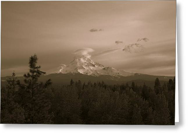 Snow-covered Landscape Pyrography Greeting Cards - Glowing Mt. Hood Greeting Card by Melissa  Maderos