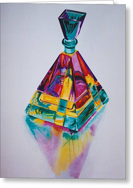 Bottle Of Perfume Greeting Cards - Glowing perfume bottle Greeting Card by Eve Riser Roberts