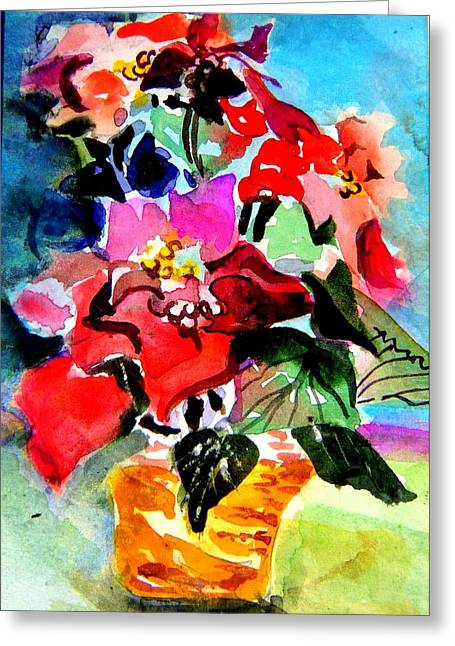 Pink Gold Flora Greeting Cards - Glowing Poinsettias Greeting Card by Mindy Newman