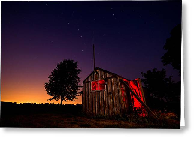 Flash Greeting Cards - Glowing Shed Greeting Card by Cale Best