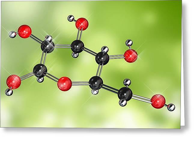 Molecular Model Greeting Cards - Glucose Sugar Molecule Greeting Card by Miriam Maslo