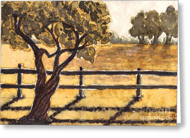 Gnarly Paintings Greeting Cards - Gnarly Tree And Golden Field Greeting Card by James Leonard