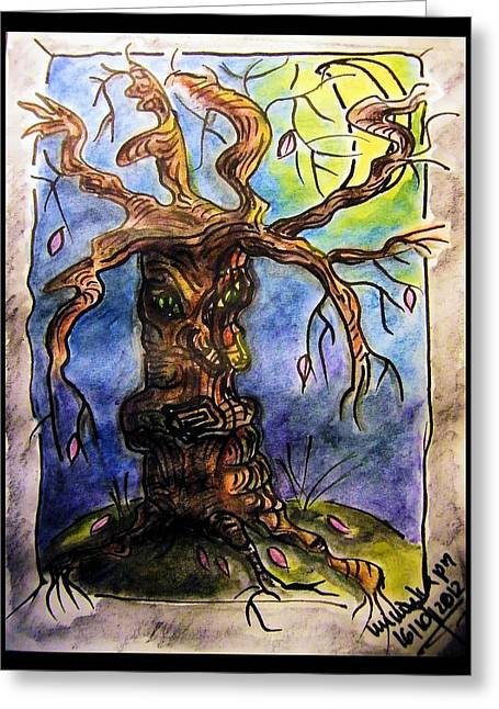 Gnarly Paintings Greeting Cards - Gnarly Tree Greeting Card by Mimulux patricia no
