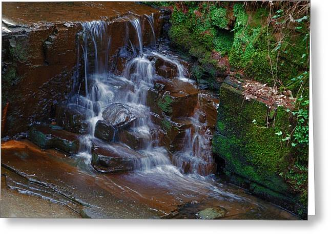 Stream Digital Art Greeting Cards - Gnoll Cascades Greeting Card by Julie L Hoddinott
