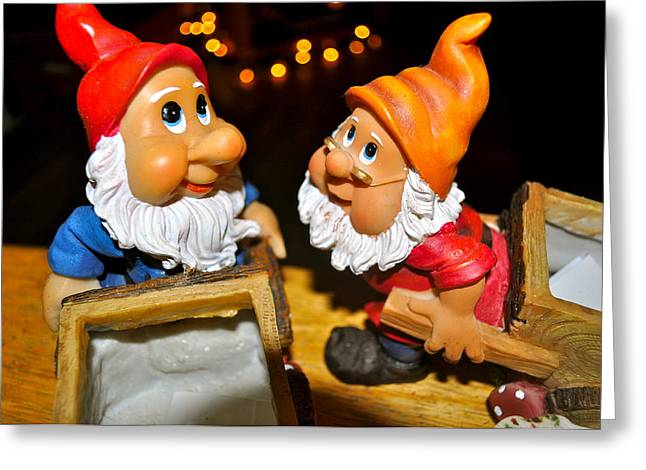 Brynn Ditsche Greeting Cards - Gnome Friends Greeting Card by Brynn Ditsche