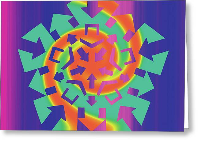 Geometric Abstraction Mixed Media Greeting Cards - Gnomon Greeting Card by Eric Edelman