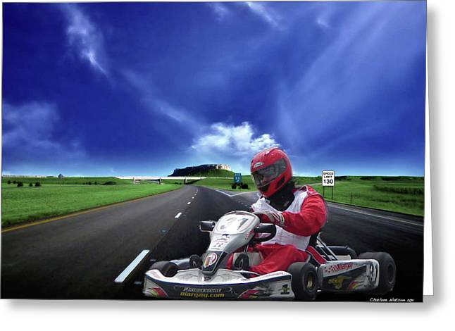 Go Cart Greeting Cards - Go Fast Go Cart Greeting Card by Charlene Watson