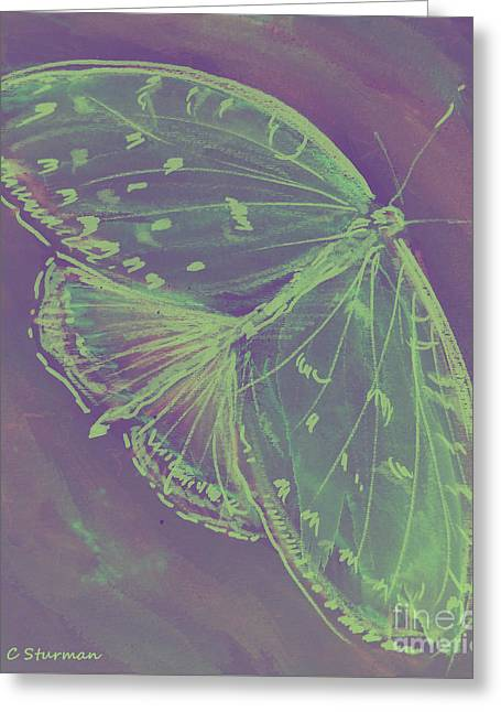 Cocoon Mixed Media Greeting Cards - Go Green Butterfly Greeting Card by M C Sturman