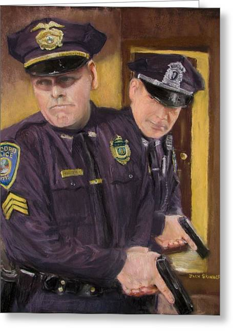 Police Officer Greeting Cards - Go on Three...1....2.... Greeting Card by Jack Skinner
