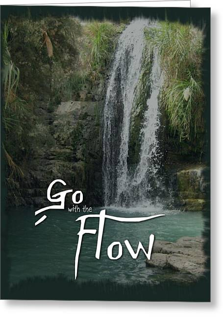 Go With The Flow Greeting Cards - Go with the flow Greeting Card by Menucha Citron
