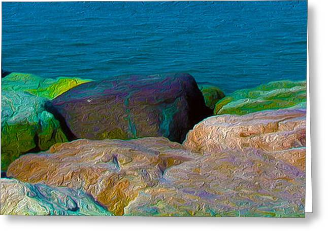 Goa Sea Front Rocks Greeting Card by Naresh Ladhu