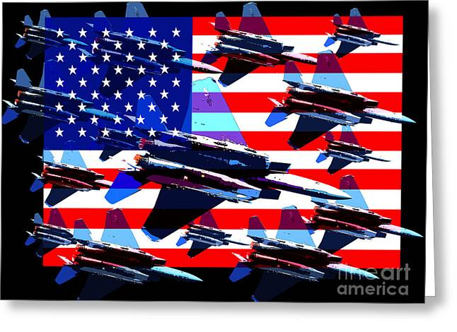 July 4th Greeting Cards - God Bless America Land Of The Free 2 Greeting Card by Wingsdomain Art and Photography