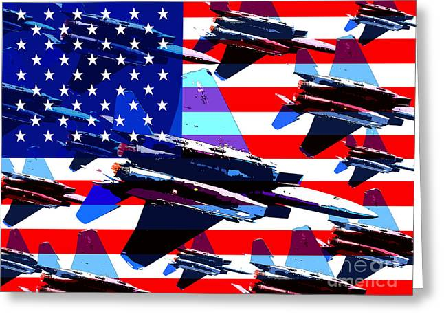 Jet Digital Art Greeting Cards - God Bless America Land Of The Free Greeting Card by Wingsdomain Art and Photography