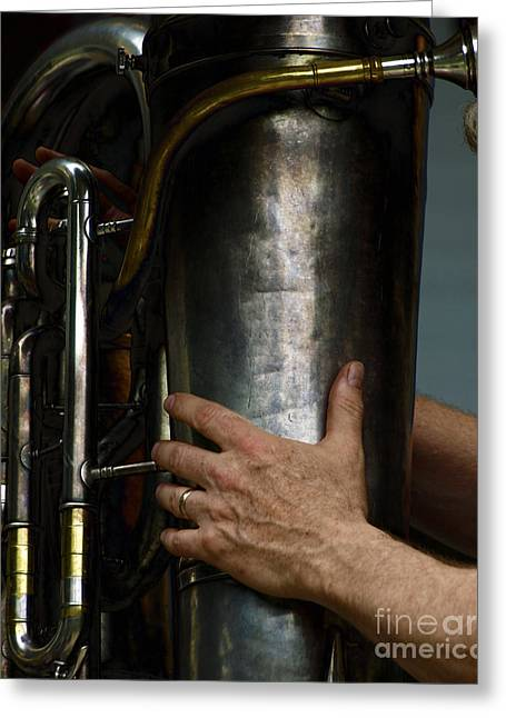 Playing Musical Instruments Digital Art Greeting Cards - God Bless the Tuba Greeting Card by Steven  Digman