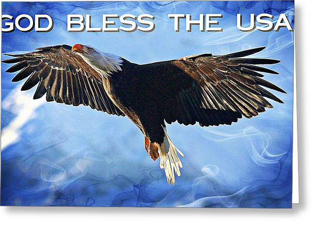 Icons Prints On Canvas Greeting Cards - God Bless The USA Greeting Card by Carrie OBrien Sibley
