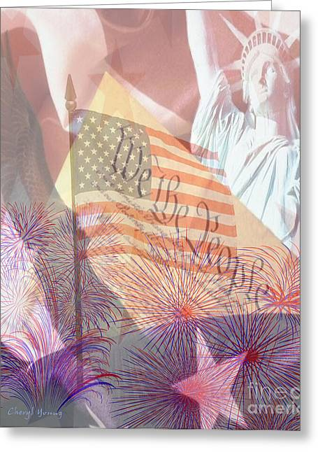 Flag Of Usa Greeting Cards - God Bless the USA Greeting Card by Cheryl Young