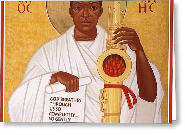 God Breathes Through the Holy Horn of St. John Coltrane. Greeting Card by Mark Dukes