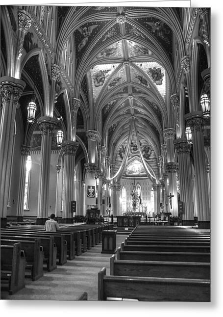 Basillica Greeting Cards - God Do You Hear Me Black and White Greeting Card by Ken Smith