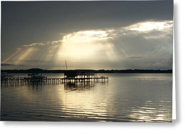 God Left The Light On For You Greeting Card by Tiffney Heaning
