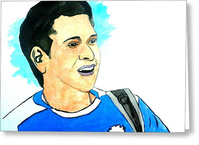 Cricket Paintings Greeting Cards - God of Cricket-Sachin Greeting Card by Poornima M