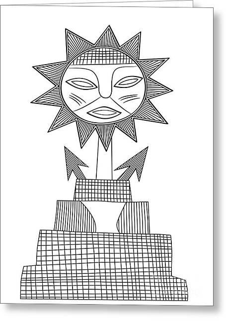 Primitive Drawings Greeting Cards - God of Sun Greeting Card by Michal Boubin