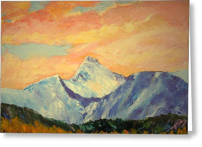 Covered Head Paintings Greeting Cards - God of Wonders My Morning Mountain One Greeting Card by Anastasia  Ealy