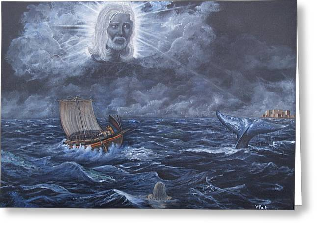 Jonah Paintings Greeting Cards - God Summons the Whale Greeting Card by Vicky Path