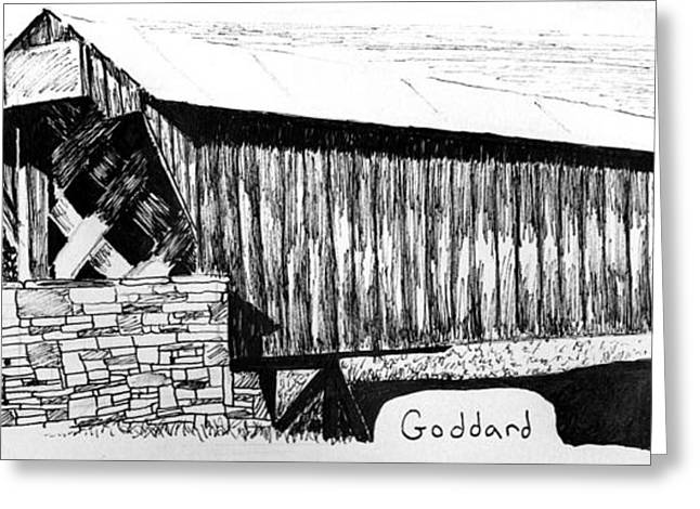 Pen And Paper Greeting Cards - Goddard Covered Bridge Greeting Card by Kyle Gray
