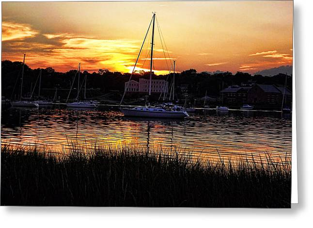 Water Photographs Greeting Cards - Goddard Marina  Greeting Card by Lourry Legarde