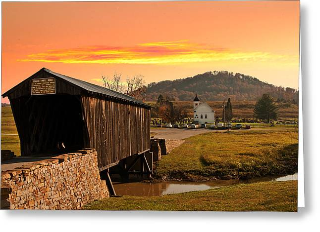 Randall Branham Greeting Cards - Goddard White Bridge and Church  Greeting Card by Randall Branham
