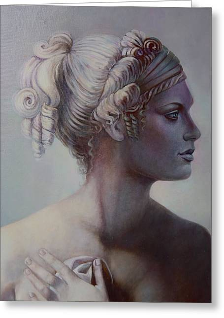Greek Sculpture Paintings Greeting Cards - Goddess Detail Greeting Card by Geraldine Arata
