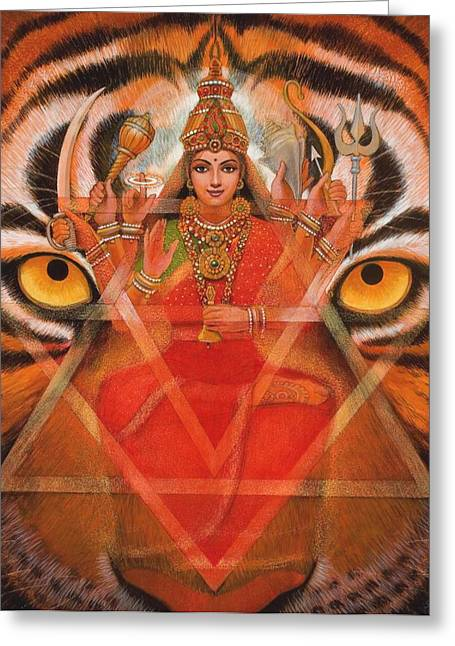 Hindu Greeting Cards - Goddess Durga Greeting Card by Sue Halstenberg
