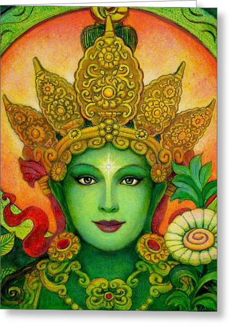 Goddess Greeting Cards - Goddess Green Taras Face Greeting Card by Sue Halstenberg
