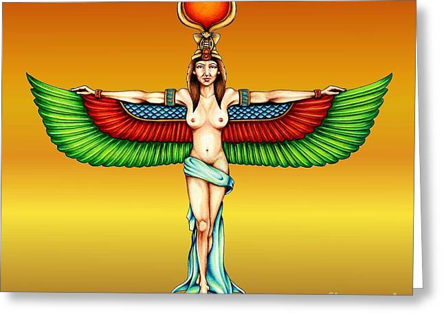 Colour Pencil Greeting Cards - Goddess Isis Greeting Card by Sheryl Unwin