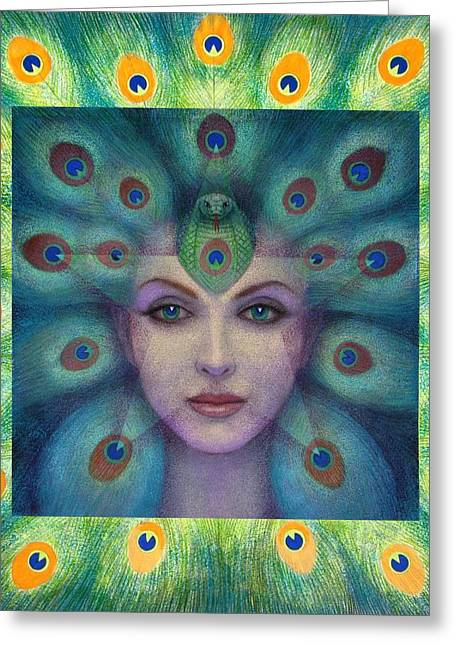 Visionary Art Greeting Cards - Goddess Isis Visions Greeting Card by Sue Halstenberg