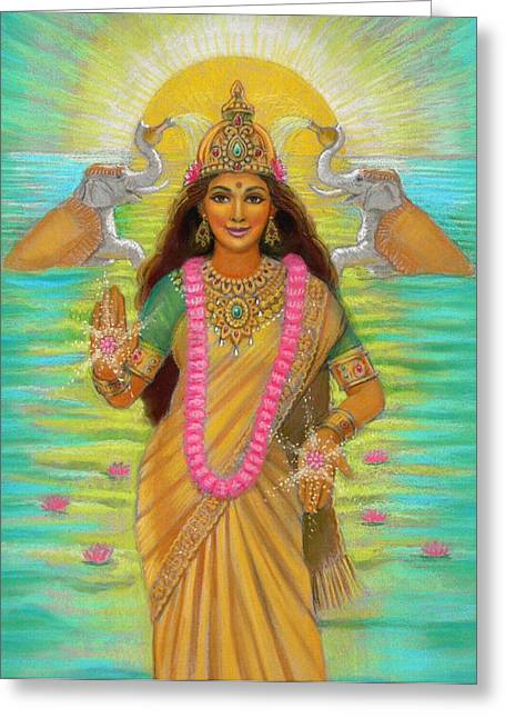 Hindu Art Greeting Cards - Goddess Lakshmi Greeting Card by Sue Halstenberg