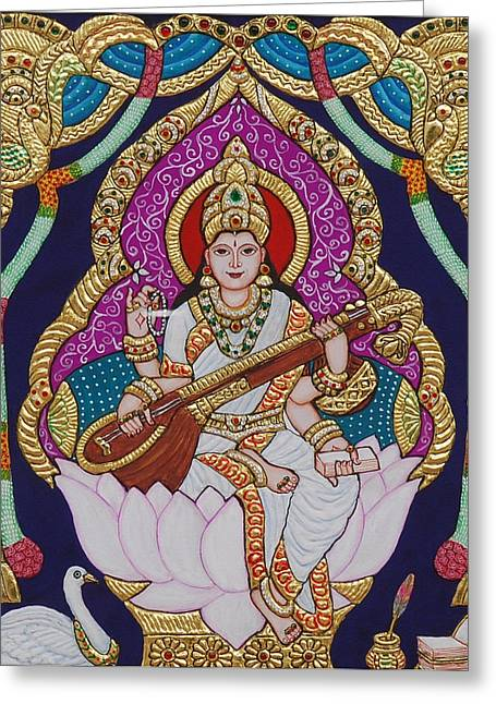 Tanjore Greeting Cards - Goddess Saraswati Greeting Card by Vimala Jajoo