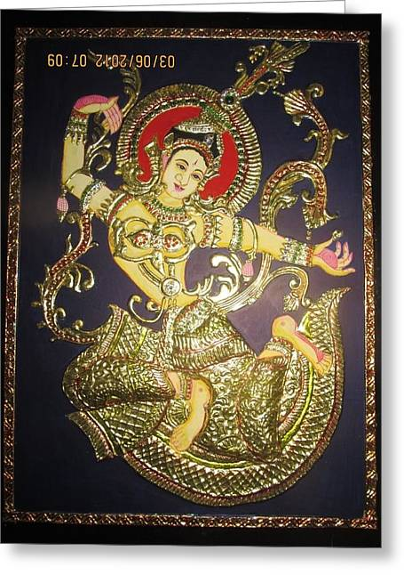Tanjore Greeting Cards - Goddess Tara Greeting Card by Asha Nayak