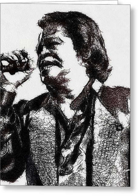 Blues Singer Drawings Greeting Cards - Godfather of Soul Greeting Card by Anthony Caruso