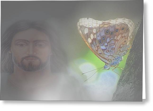 Jesus Mixed Media Greeting Cards - GODS beauty.. Greeting Card by Al  Swasey