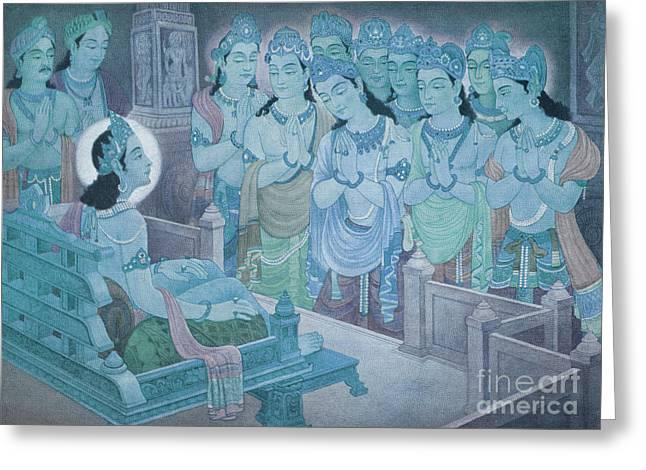 Jainism Greeting Cards - Gods Entertaining Mahavira Greeting Card by Photo Researchers