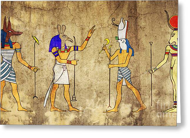 Hathor Greeting Cards - Gods of Ancient Egypt Greeting Card by Michal Boubin