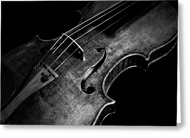 Orchestra Pyrography Greeting Cards - Goffriller Violin Black and White Greeting Card by Sam Hymas