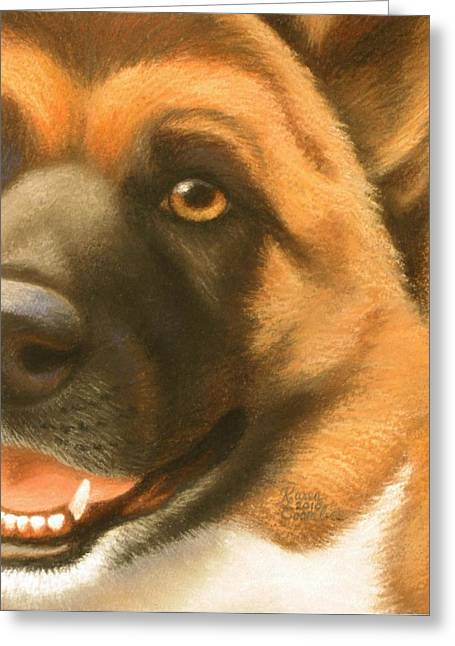 Puppies Pastels Greeting Cards - Goggie Akita Greeting Card by Karen Coombes