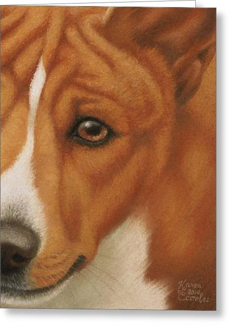 Breeds Pastels Greeting Cards - Goggie Basenji Greeting Card by Karen Coombes