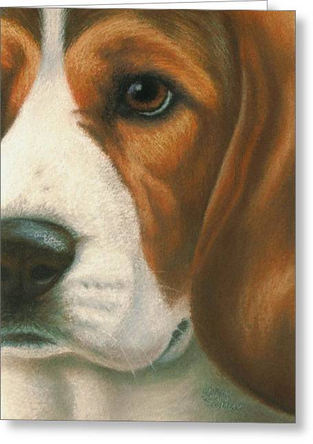 Puppies Pastels Greeting Cards - Goggie Beagle Greeting Card by Karen Coombes
