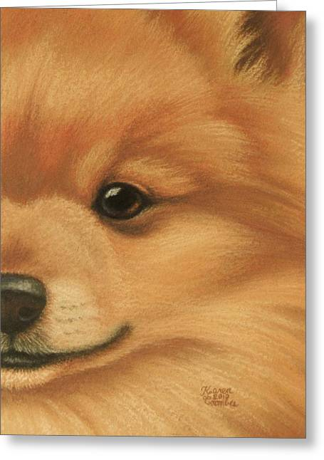 Breeds Pastels Greeting Cards - Goggie Pomeranian Greeting Card by Karen Coombes
