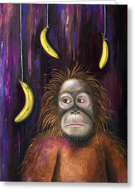 Bananas.ape Greeting Cards - Going Bananas Greeting Card by Leah Saulnier The Painting Maniac